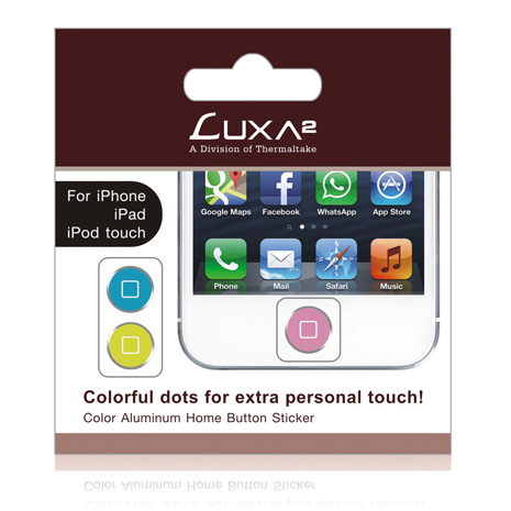 LUXA2 彩色鋁合金Home鍵貼紙 -藍/粉紅/黃