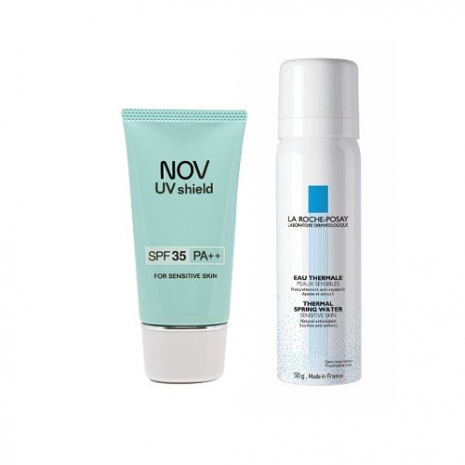 NOV娜芙 防曬隔離霜SPF35 (30g)+理膚寶水 溫泉舒緩噴液50ml