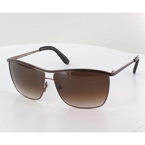 Ferragamo 時尚皮革框太陽眼鏡 - 皮革棕