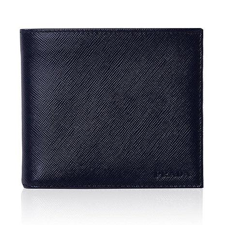 PRADA防刮斜紋牛皮男士雙摺短夾(藍黑色)-含零錢包