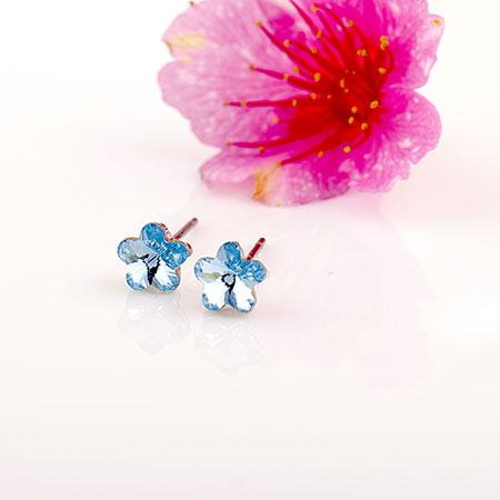 耳環 施華洛世奇 水晶元素 6mm 精巧櫻花 可愛必備 微醺.禮物(閃耀白色)