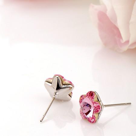 耳環 施華洛世奇 水晶元素 1cm 櫻花 小巧款 微醺.禮物(俏豔紫)