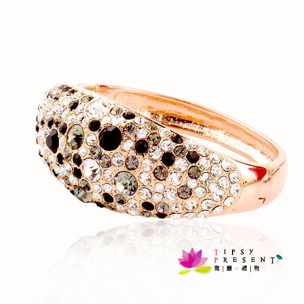 施華洛世奇 水晶元素 手環 超級閃亮 黑白鑽 寬版手環 微醺~