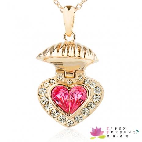 項鍊 施華洛世奇元素水晶 高級水鑽 維納斯的誕生 貝殼之心 項鍊 夢幻浪漫款 項鍊 微醺.禮物