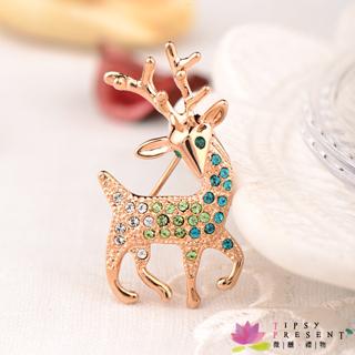 胸針 高級水鑽 合金鍍K金 聖誕麋鹿 胸針 別緻款 微醺 禮物