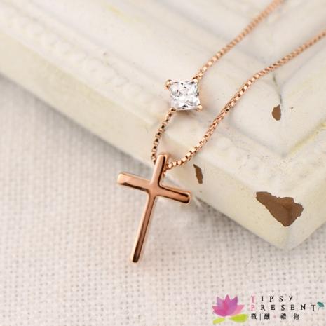 頂級鋯石 合金鍍K金 十字架 項鍊 短鍊