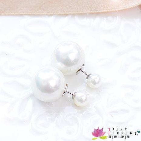 耳環 人造珍珠 925銀前後珍珠 耳環 微醺禮物