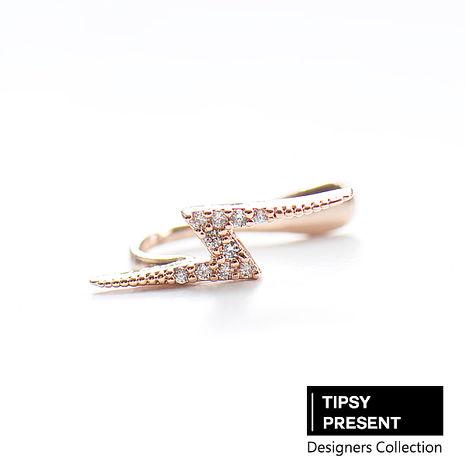 韓製 耳環 頂級鋯石 銅鍍16K金 個性閃電 耳扣/耳骨環/耳夾/耳環 微醺 禮物