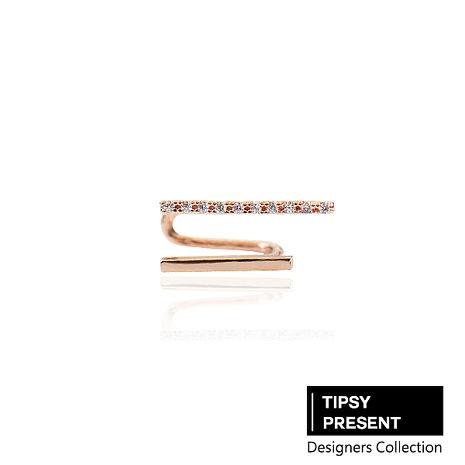 韓製 耳環 頂級鋯石 銅鍍16K金 時尚雙排 耳扣/耳骨環/耳夾/耳環 微醺 禮物