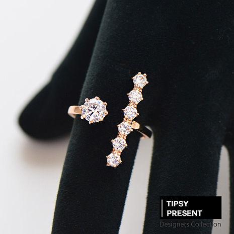 戒指 頂級鋯石 合金鍍K金 單鑽+六顆小鑽  開口戒指 微醺 禮物
