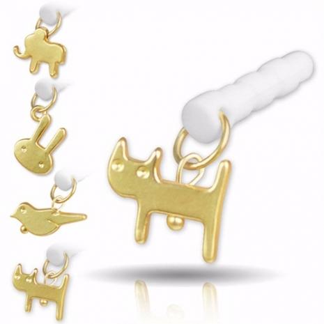 動物造型吊飾 3.5mm 耳機孔防塵塞-貓咪