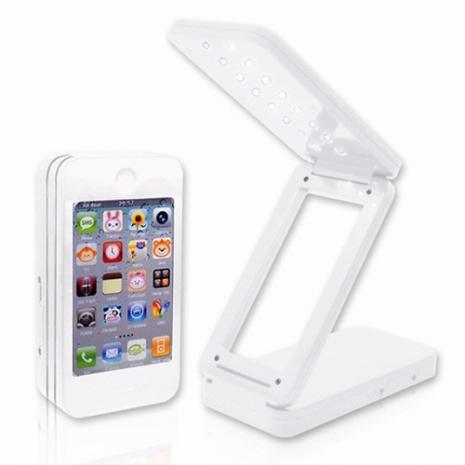 USB iPhone 造型可充電式摺疊檯燈 - 白色