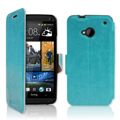 NEW HTC One (M7) 專用 P03 皮革紋側開掀蓋式保護套-天藍