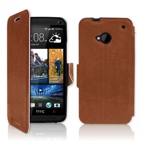 NEW HTC One (M7) 專用 P03 皮革紋側開掀蓋式保護套-咖啡