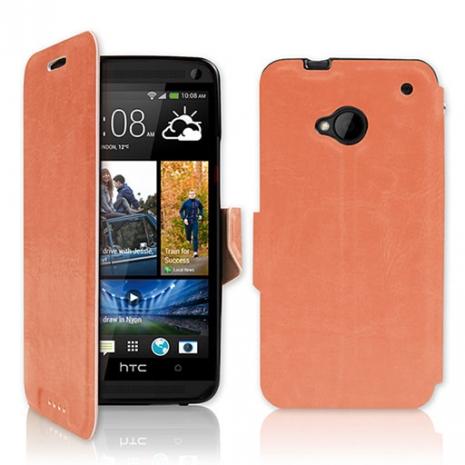 NEW HTC One (M7) 專用 P03 皮革紋側開掀蓋式保護套-粉橘