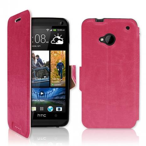 NEW HTC One (M7) 專用 P03 皮革紋側開掀蓋式保護套-桃紅