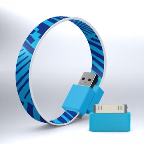 Mohzy USB 環狀傳輸線(附轉接頭) - 藍色不規則條紋