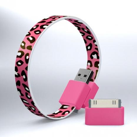 Mohzy USB 環狀傳輸線(附轉接頭) - 粉紅豹紋