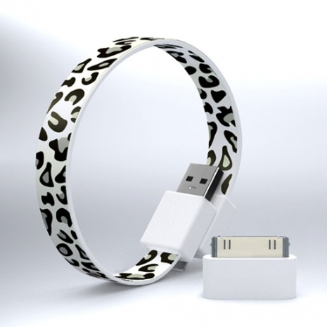 Mohzy USB 環狀傳輸線(附轉接頭) - 灰白豹紋