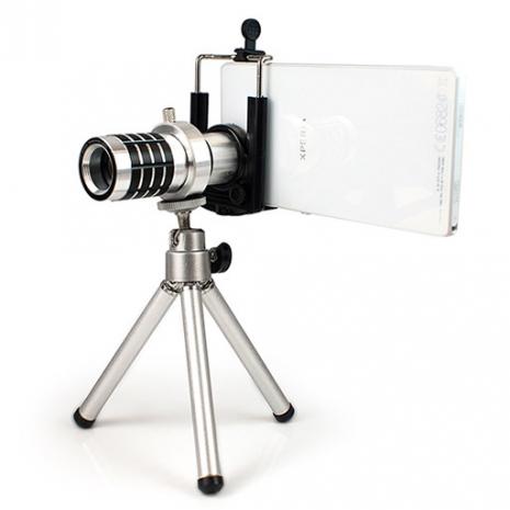12倍 光學砲筒型 手機/平板萬用 長焦攝影望遠鏡頭-金屬銀