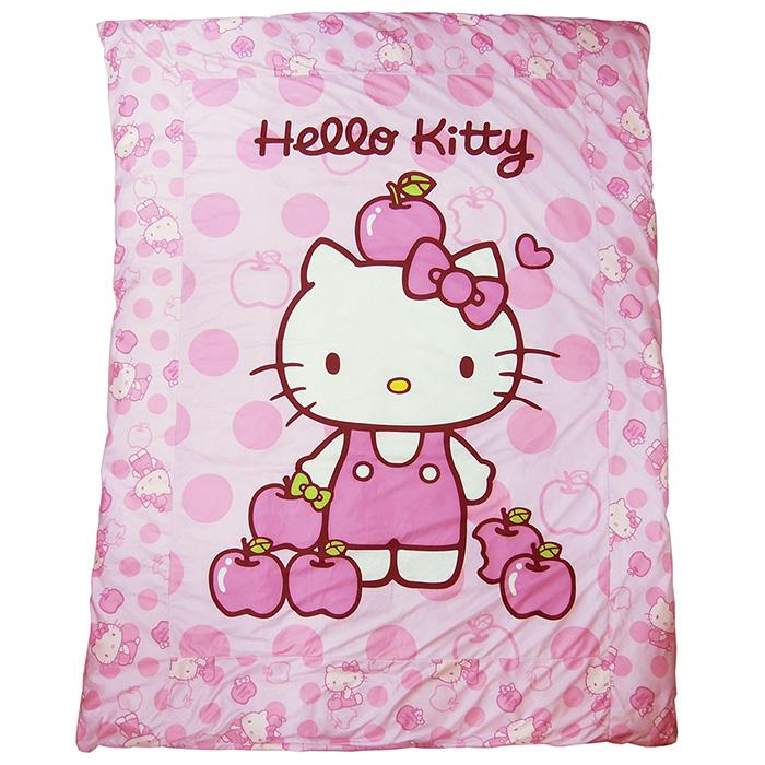 【享夢城堡】HELLO KITTY 粉紅蘋果 精絲絨暖被