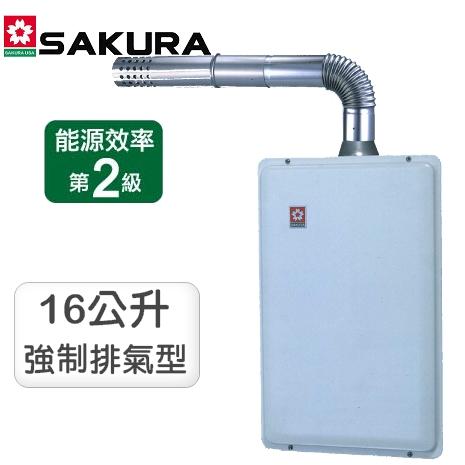 櫻花牌16公升數位恆溫強排型熱水器 SH-1691(LPG)桶裝