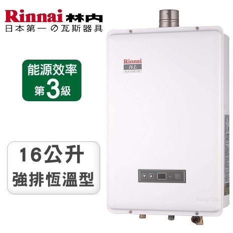 林內牌16公升16段恆溫強制排氣熱水器RUA-A1601WF(NG2/FE式)天然