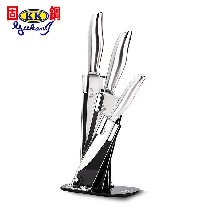 固鋼 豪華時尚一體成型不鏽鋼刀具組(3刀1座4件組)