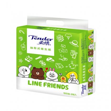 柔情 抽取衛生紙 (LINE FRIENDS授權版)100抽×8包×6串/限量箱購
