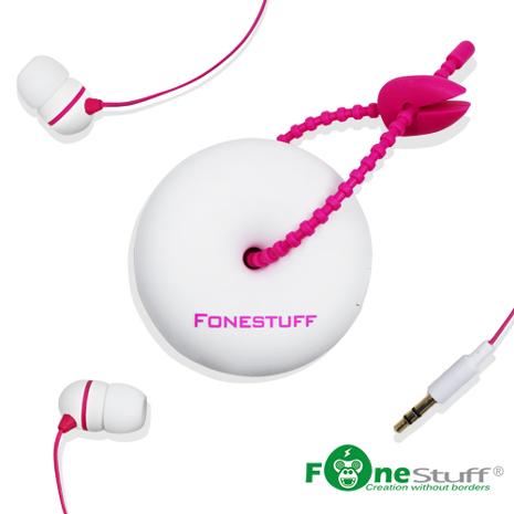 【二入組】Fonestuff FS6002 收線式耳道耳機(白粉)