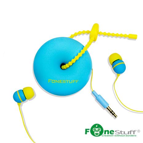【二入組】Fonestuff FS6002 收線式耳道耳機(藍黃)