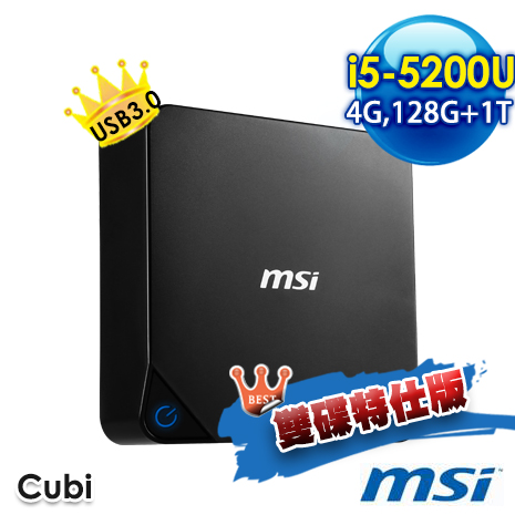 msi CUBI-072XTW B5520U4GXXDXX 小主機 (i5-5200U/4G/128G+1T/NO OS)