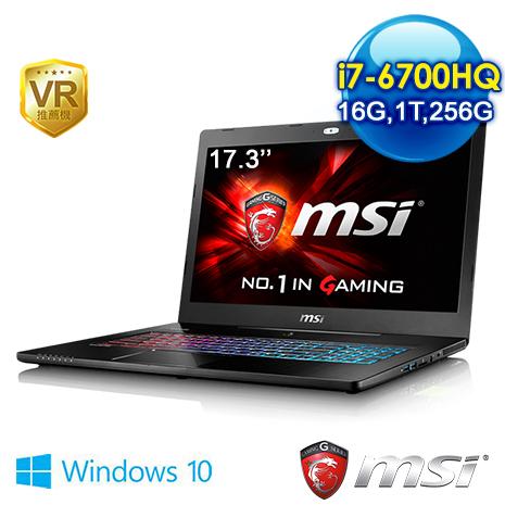 【電競瘋狂購】msi GS72 6QE(Stealth Pro 4K)-235TW-BB7670H16G1T0DX10MH 17.3吋 筆電 (i7-6700HQ/16G/GTX9703G獨顯/256G+1T/WIN10)