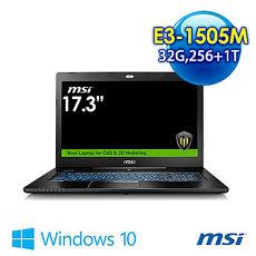 msi WS72 6QJ-075TW-BBX150H32G1T0DX10P 17.3吋 繪圖機 (E3-1505M/32G/M2000M4G獨顯/256G+1T/WIN10)