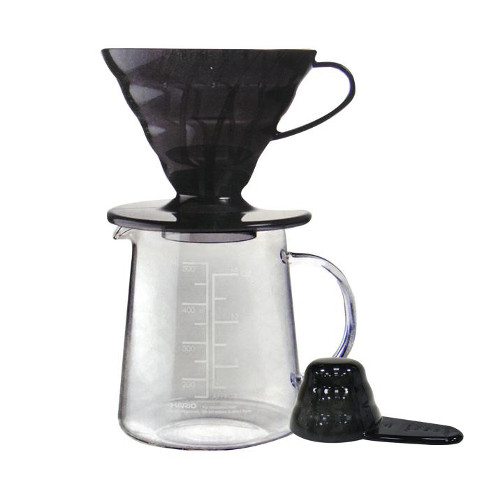 HARIO V60黑色樹脂濾杯咖啡壺組1~2杯 ESD-02TB-EX-M 500ml