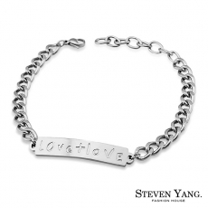 STEVEN YANG~KH4016~西德鋼飾 LOVE相加鋼手鍊 尹恩惠韓劇相似款 銀色