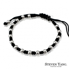 STEVEN YANG~KH4015~西德鋼飾 吉祥如意編織手鍊 尹恩惠韓劇相似款  黑色