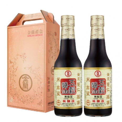 【金蘭】寶囊禮盒-五穀醬油 (500ml*2入)