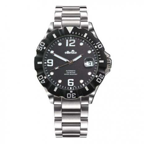 【ELLESSE】義大利時尚腕錶黑面黑框鋼帶款(自動/男)