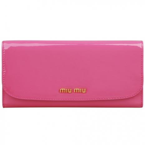 MIU MIU 漆皮釦式長夾(粉紅)