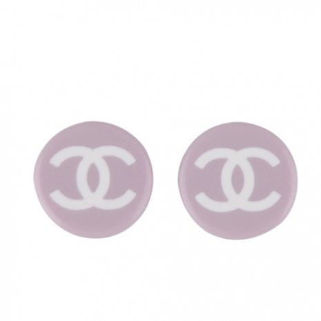 CHANEL 經典LOGO素雅耳環(紫)