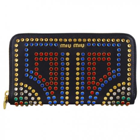 MIU MIU 牛皮水晶鉚釘設計拉鍊長夾(黑)