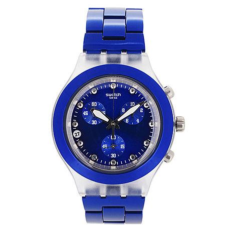 Swatch 三眼計時腕錶(藍)