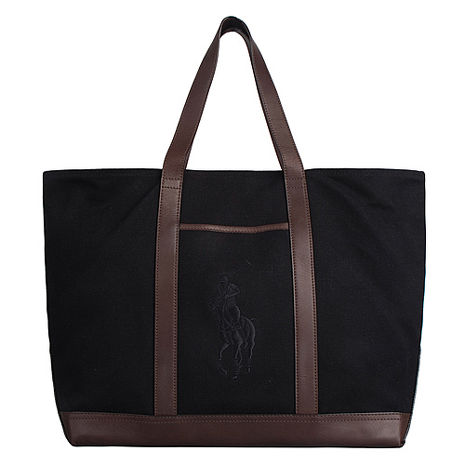 POLO 經典戰馬帆布肩背托特包(大/黑+咖啡)