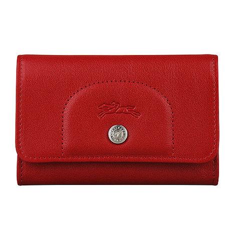 LONGCHAMP Le Pliage Cuir系列羊皮零錢卡片夾(紅)
