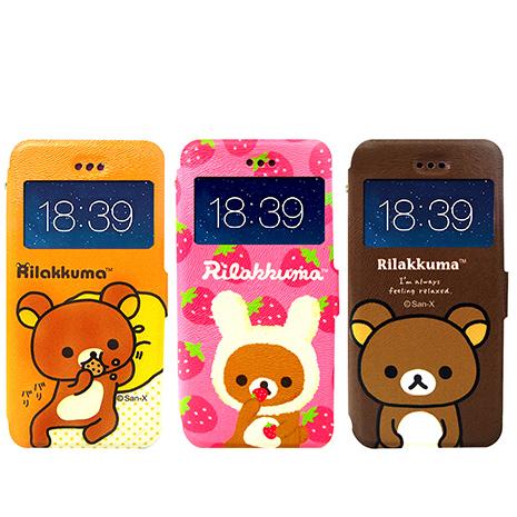 日本授權正版 懶懶熊/拉拉熊/Rilakkuma iPhone 6s+/6 plus 5.5吋 i6+ 彩繪視窗手機皮套(貪吃款)