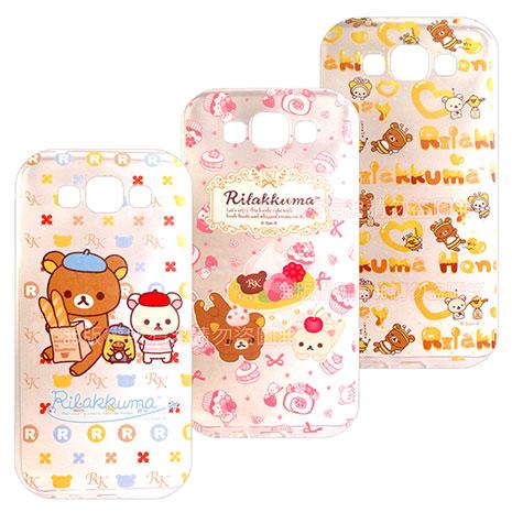 SAN-X授權正版   Samsung Galaxy E7 SM-E7000  Rilakkuma/拉拉熊/懶懶熊 透明軟式保護套 手機殼(友誼款)