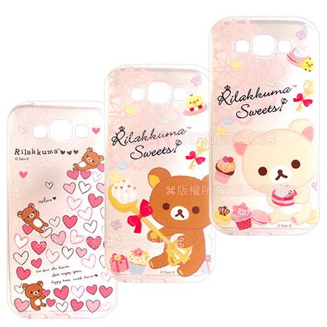 SAN-X授權正版  Samsung Galaxy E7 SM-E7000  Rilakkuma/拉拉熊/懶懶熊 透明軟式保護套 手機殼(甜蜜款)