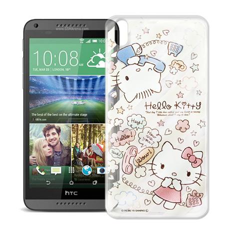 Hello Kitty HTC Desire 816 d816x 透明軟式手機殼(熱線Kitty)