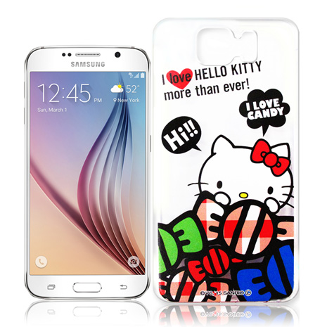Hello Kitty 三星 Samsung Galaxy S6 G9200 透明軟式手機殼(糖果HI)